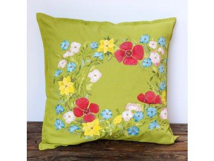 Malovaný originální polštář - s máky a květinami