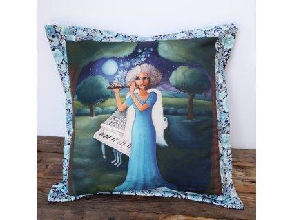 Malá noční hudba - polštář 50 x 50 cm bavlna