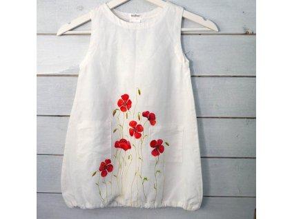 Len - košilka od andělky ručně  malovaná - velikost 98