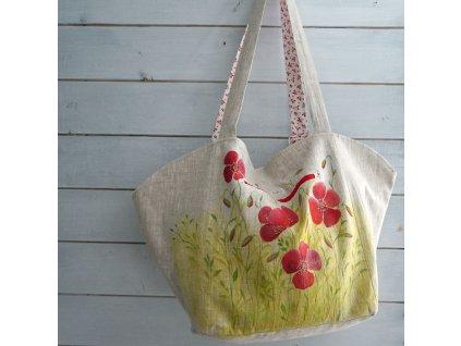 Velká prostorná lněná taška malovaná s máky