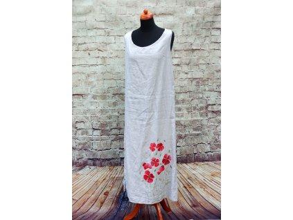 Lněné šaty dlouhé - originál malované 36