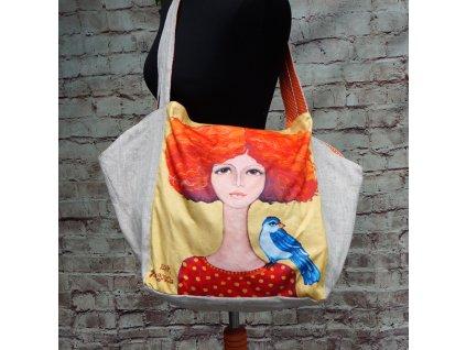 Velká prostorná lněná taška - Zrzka a  ptáček