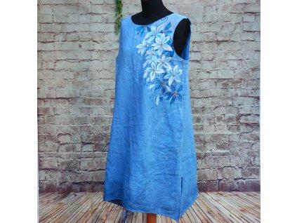 Len -  kratší šaty barvené a malované 42 -44