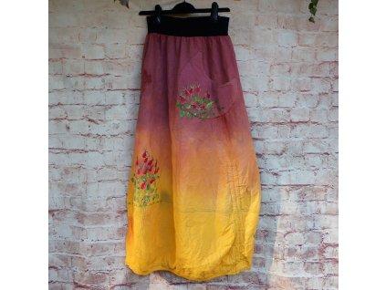 Sukně barvená a malovaná, dlouhá S