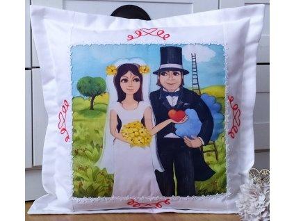 Vyšívaný polštář -  Svatební