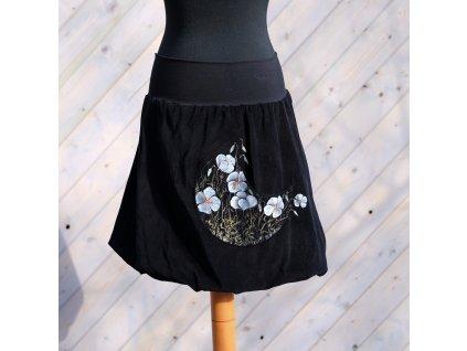 Manžestrová balonová sukně -Bílé máky- malovaná (M)