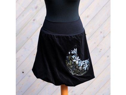 Manžestrová balonová sukně -Lilie malované (S-M)