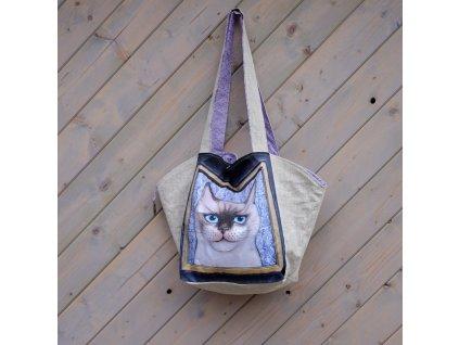 Velká prostorná lněná taška - Damián