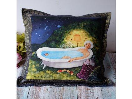Ve vaně na zahradě - polštář 50 x 50 cm bavlna