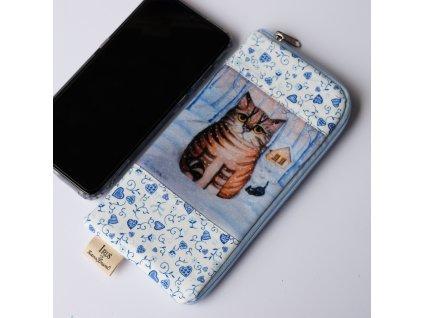 Obal i na velký mobilní telefon - Kocour a kotě v zimě