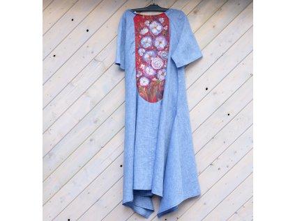 Lněné šaty originál malované 46