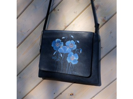 Kabelka -s modrými máky - originál malovaná
