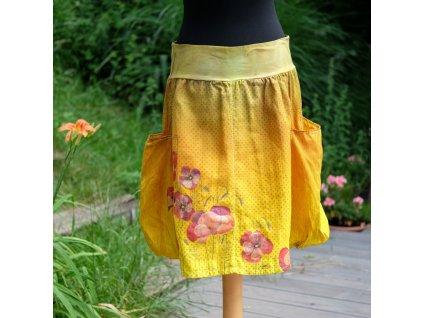 Sukně s kapsama - barvená, malovaná 100 % len, originál - 52
