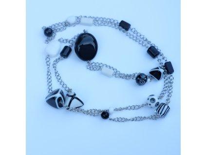 Nerezový černobílý náhrdelník s vinutkami