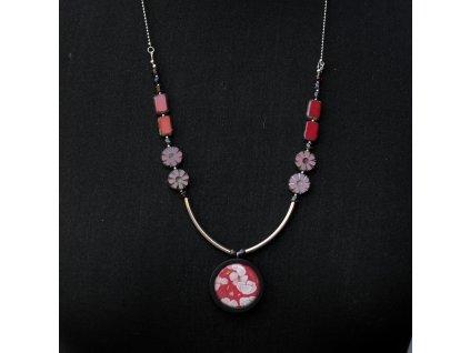 Kytičkový nerezový zdobený náhrdelník