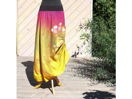 Sukně barvená a malovaná, dlouhá  velikost 42