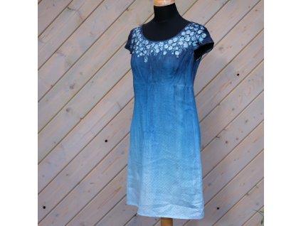 Lněné,  barvené a malované šaty kvetoucí  - 36 -38