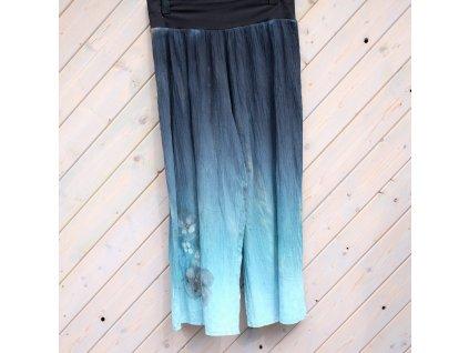 lehoučké široké kalhoty černé barvené a malované 52