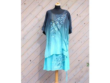 Lehoučké šaty s halenkou dlouhé originál malované - 50