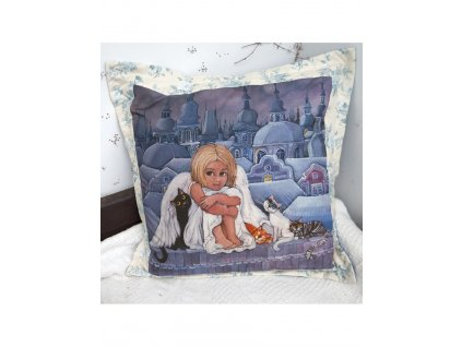 Andělka a kočičky - polštář 50 x 50 cm bavlna