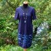 Modré  lněné malované šaty - velikost 38(10)