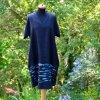 Černé lněné malované šaty - velikost 40 (12)