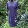 Modré  lněné malované šaty - velikost 36(8)