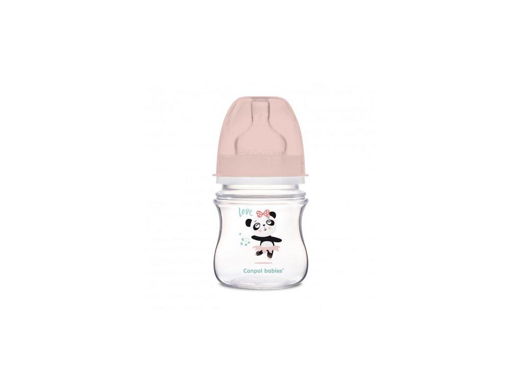 Canpol babies Lahev se širokým hrdlem EXOTIC ANIMALS 120 ml růžová