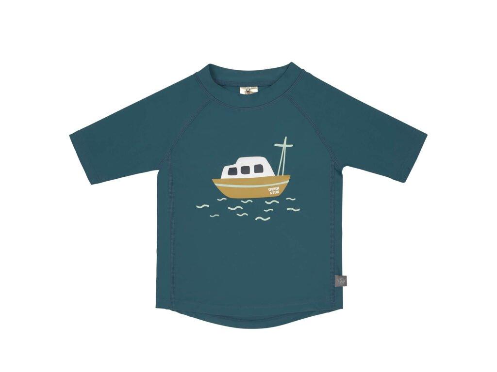 Short Sleeve Rashguard boat blue 18 mo.