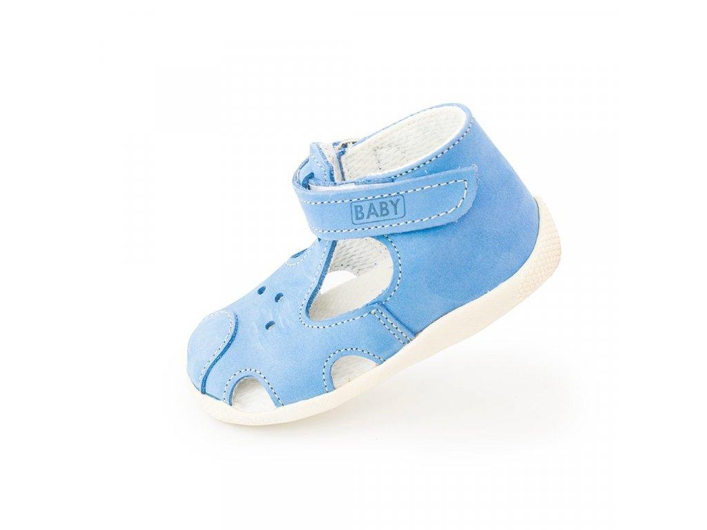 dětský kožený capáček na suchý zip, Veleta, 026, modrá