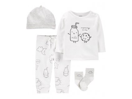CARTER'S Set 4dílný tričko, kalhoty, čepice, ponožky Milk neutrál NB/vel. 56