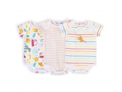 Body kojenecké 3pack, Minoti, Car 10, bílá