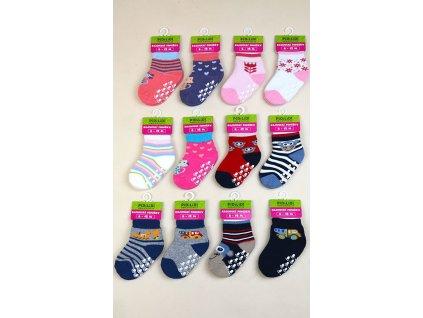 ponožky kojenecké FROTÉ protiskluzové, Pidilidi, PD0119, mix