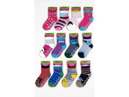 ponožky kojenecké FROTÉ protiskluzové, Pidilidi, PD0121, mix.
