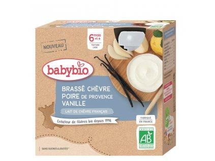 4x BABYBIO Svačinka z kozího mléka s hruškou a vanilkou (85 g)