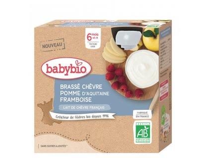 4x BABYBIO Svačinka z kozího mléka s jablkem a malinami (85 g)
