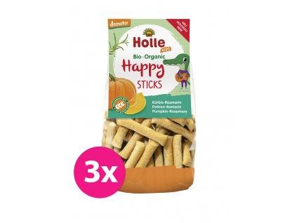 3x HOLLE Dětské Bio Happy tyčinky dýně-rozmarýn, 100 g (3+)