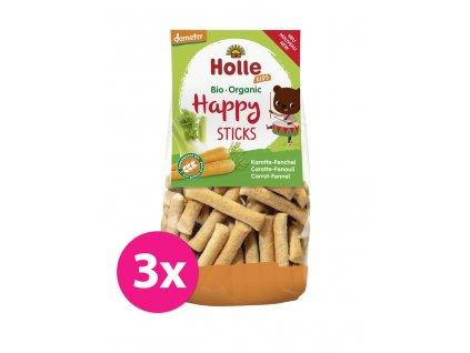 3x HOLLE Dětské Bio Happy tyčinky mrkev-fenykl, 100 g (3+)