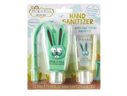Jack N' Jill Antibakteriální gel na ruce Zajíc 2x29 ml + pouzdro