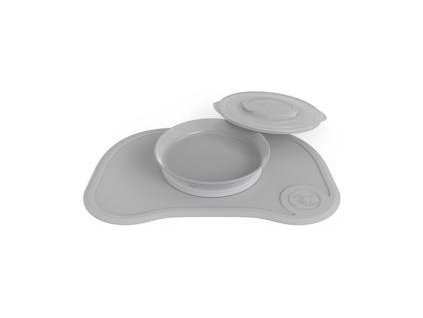 TWISTSHAKE Protiskluzová podložka Click Mat + talíř (6m+) pastelově šedá