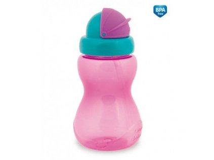 Canpol babies Láhev sportovní se slámkou malá 270 ml růžová