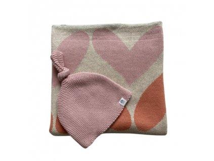 PETITE&MARS Deka Harmony Pure Hearts 80 x 100 cm + Čepice Huggy Pink