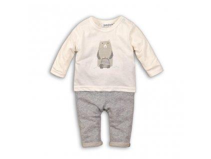 Kojenecký set bavlněný, tričko a kalhoty, Minoti, IGLOO 1, šedá