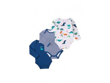 Body kojenecké dlouhý rukáv 3pack, Minoti, Jurassic 9, modrá