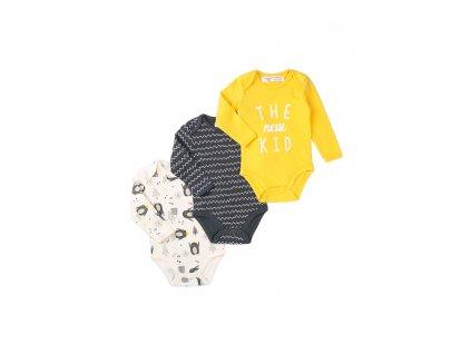 Body kojenecké dlouhý rukáv 3pack, Minoti, Hug 7, kluk