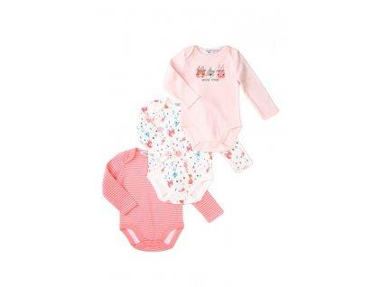 Body kojenecké dlouhý rukáv 3pack, Minoti, Robbin 9, růžová