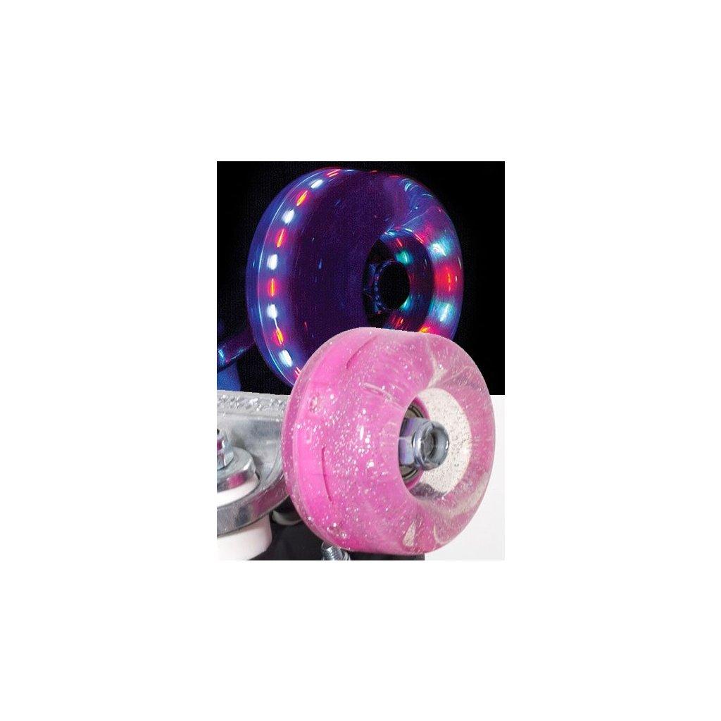 Rio - Roller Light Up - Pink Glitter (sada 4 koleček)