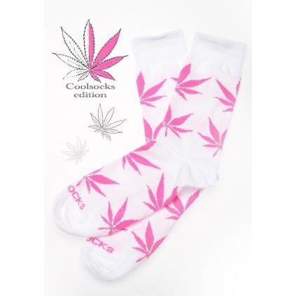 Coolsocks - Ponožky s motivem - Bílo-růžové