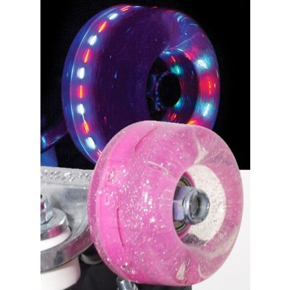 Rio - Roller Light Up - Pink Glitter (sada 4 koleček)