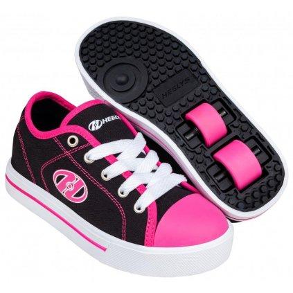 Heelys - Classic X2 Black/White/Hot Pink - koloboty